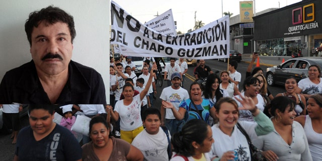 "People march in support of jailed drug boss Joaquin Guzman Loera, ""El Chapo"" (pictured top left) in the city of Culiacan, Mexico, Wednesday, Feb. 26, 2014. (AP Photo/El Debate de Culiacan-Jonathan Telles)"