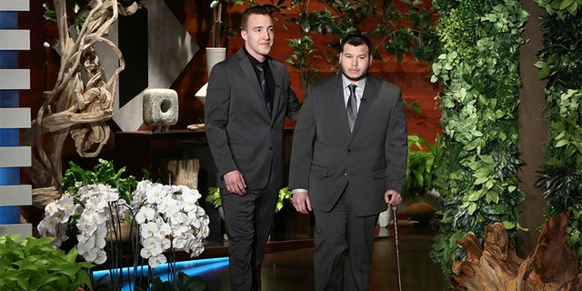 "Stephen Schuck, left, and security officer Jesus Campos appeared on ""The Ellen DeGeneres Show"" to tell their stories."