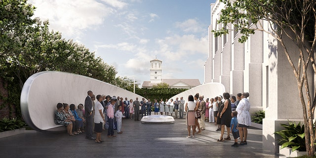 A memorial dedicated to the nine worshipers fatally shot while at Bible study at a Charleston church was unveiled Sunday. The memorial includes a fountain, flanked by two winged benches, that has the names of the Emanuel Nine etched onto it.