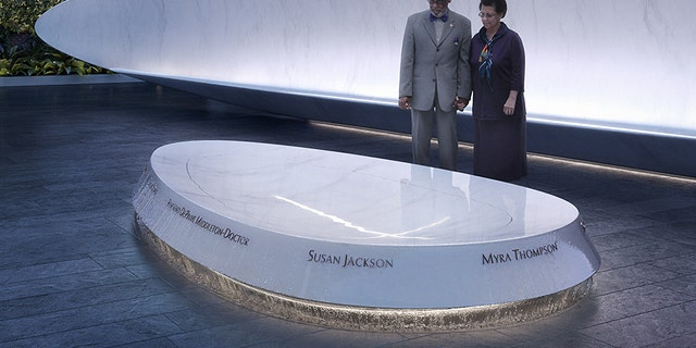 The fountain will have the names of the nine victims etched onto it, and water will gently flow over those names, according to memorial plans.