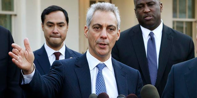 FILE: February 27, 2014: Chicago Mayor Rahm Emanuel at the microphone at the White House, in Washington, D.C.