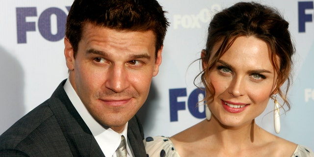 """Actor David Boreanaz and actress Emily Deschanel from the show """"Bones"""" arrive at the Fox Upfront after-party at Wollman Rink in Central Park in New York City May 15, 2008."""