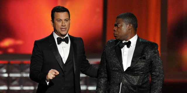 Sept. 23, 2012: Host Jimmy Kimmel, left, and Tracy Morgan perform onstage at the 64th Primetime Emmy Awards at the Nokia Theatre.