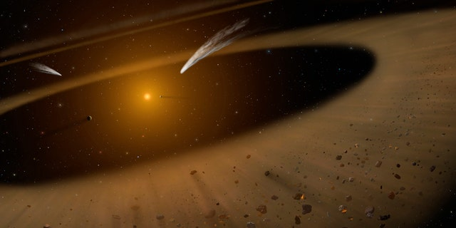 An artist's impression of the nearby Epsilon Eridani system with an asteroid belt-like debris disk scattered with rocky and icy bodies, along with the gas giant Epsilon Eridani b in the lower right.