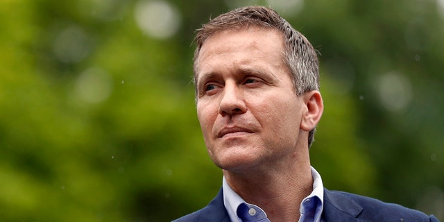 In this May 17, 2018 file photo, forner Missouri Gov. Eric Greitens looks on before speaking at an event near the capitol in Jefferson City, Mo. Greitens is now running to replace retiring Sen. Roy Blunt, r-Mo. (AP Photo/Jeff Roberson, File)