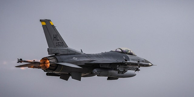 An Air Force F-16 jet crashed Wednesday at Nellis Air Force Base outside of Las Vegas, defense officials told Fox News.