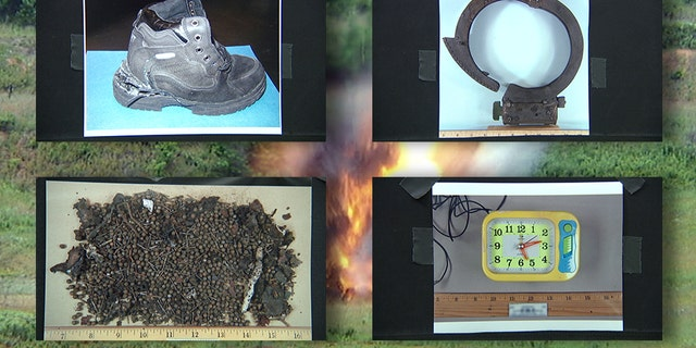 Clockwise from top: The 2001 shoe bomb worn by Al Qaeda terrorist Richard Reid; the collar bomb that killed an alleged co-conspirator in 2003; shrapnel from the 2013 Boston Marathon bombing; and an alarm clock from the 2010 Times Square car bombing attempt.