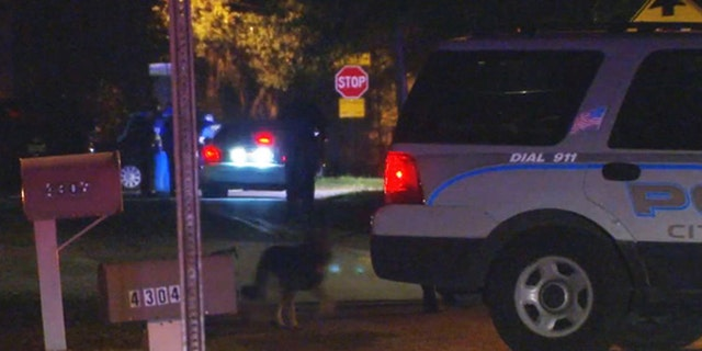 A suspected car thief allegedly tried to drown a police dog and scuffled with an officer before he was shot, cops said.
