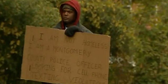 A Maryland police officer posed as a homeless man during an operation to catch drivers who text.