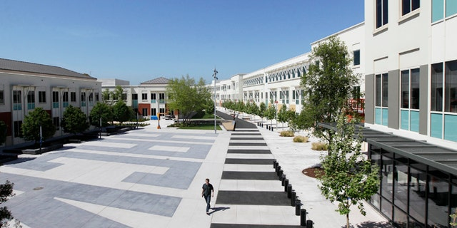 The Facebook campus in Menlo Park, Calif. Police flooded Facebook's headquarters Tuesday March 11, 2014 in Northern California to investigate a threat they later found wasn't credible.