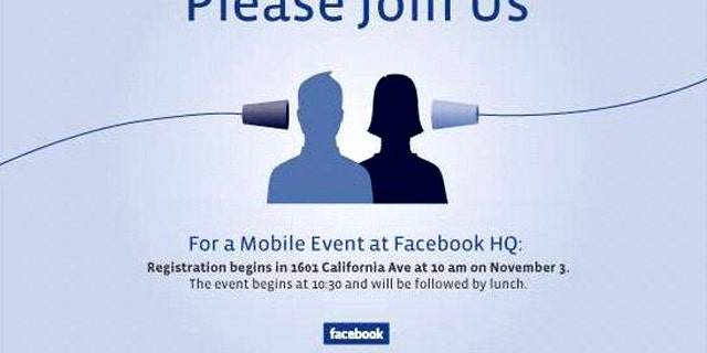 An invitation sent out to editors for an upcoming Facebook Event. Will the company unveil the rumored Facebook Phone?