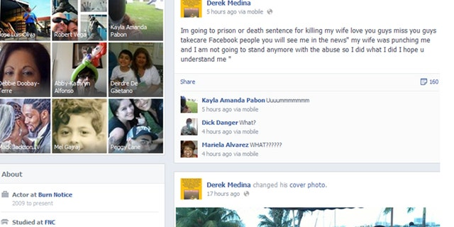 August 8, 2013: Derek Medina allegedly posted on Facebook that he had killed his wife.