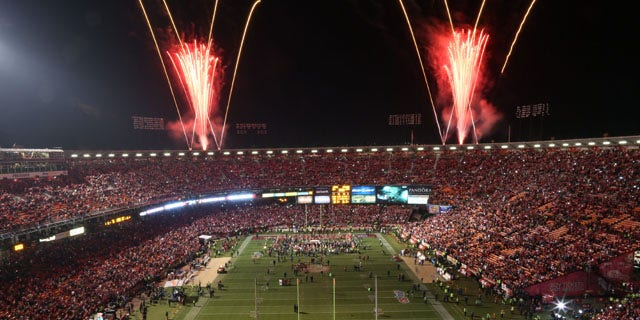 December 23, 2013: Fireworks explode over Candlestick Park after the San Francisco 49ers beat the Atlanta Falcons 34-24 in an NFL football game in San Francisco. (AP Photo)