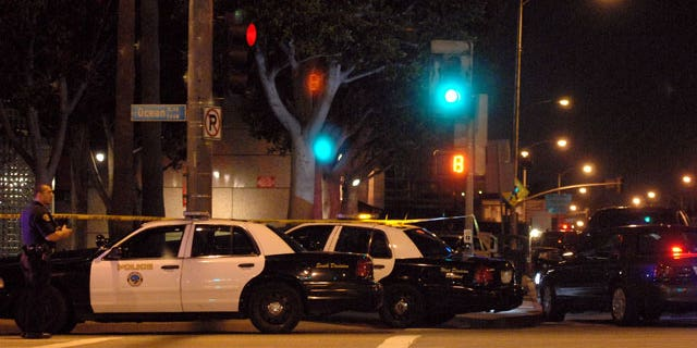 Feb. 16, 2012: Streets are closed in downtown Long Beach surrounding the federal building on Ocean Boulevard after an ICE agent shot and injured another agent and was then killed by a third colleague in a federal building in Long Beach according to the FBI.