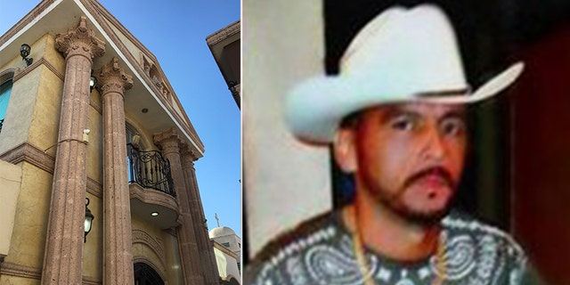 Manuel Torres Félix (right) was a Sinaloa Cartel capo known as 'The Crazy One' for his violent rages. He was gunned down and killed by the Mexican army in October 2012; his tomb (left) comes complete with a balcony and Greek pillars