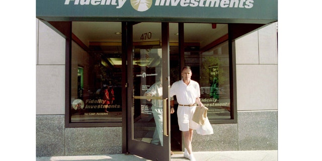 Customers leave a sales office of Fidelity Investments in Boston, August 27. Fidelity announced that it will take no new investors in its well-known Magellan Mutual Fund starting October 1. Fidelity is the largest mutual fund company in the world and is headquartered in Boston.