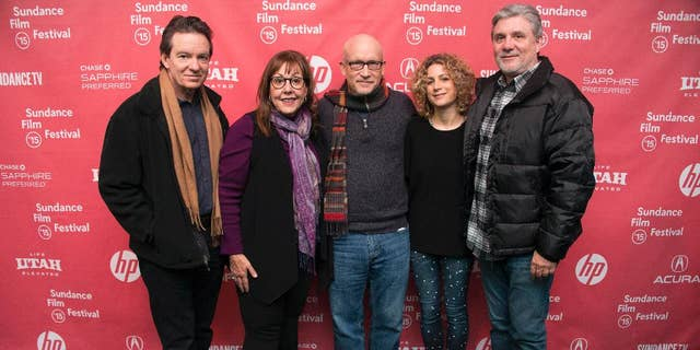 """FILE - In this Jan. 25, 2015 file photo, author/producer Lawrence Wright, from left, former Scientology church member Spanky Taylor, director Alex Gibney, Sara Bernstein, Senior VP of Programming for HBO Documentaries and former Scientology church member Mike Rinder attend the premiere of """"Going Clear: Scientology and the Prison of Belief"""" during the 2015 Sundance Film Festival in Park City, Utah. Rinder's story is one of the eight former church members that make up the emotional arc of the documentary, """"Going Clear: Scientology and the Prison of Belief,"""" which opens in theaters Friday, March 13, and will air on HBO on March 29. (Photo by Arthur Mola/Invision/AP, File)"""