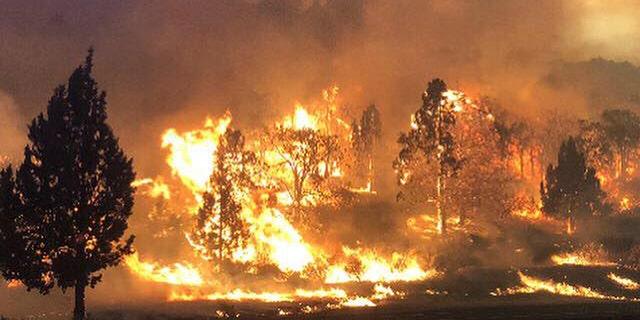 Photo released Friday, the Klamathon Fire burns in Hornbrook, California.