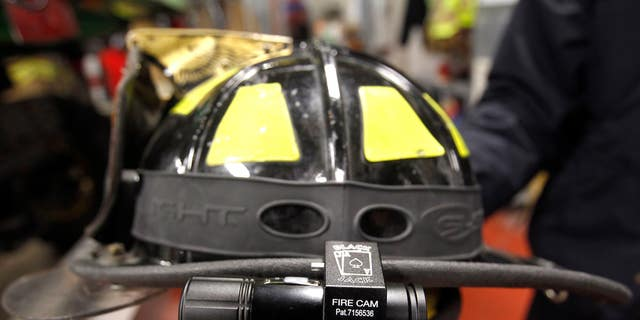 A fire helmet is seen in Iowa.