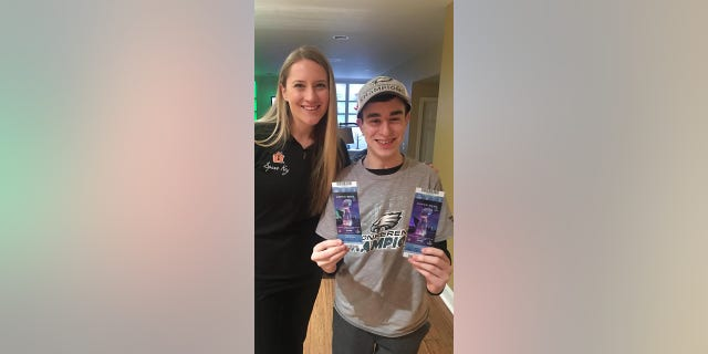 13-year old cancer survivor was overjoyed when he was surprised with Super Bowl tickets.