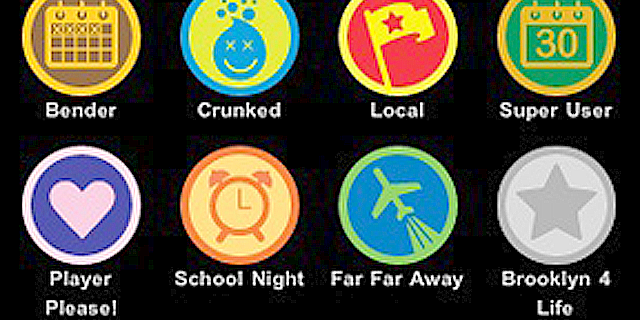Foursquare users can earn badges such as these ones for visting places or accomplishing events.