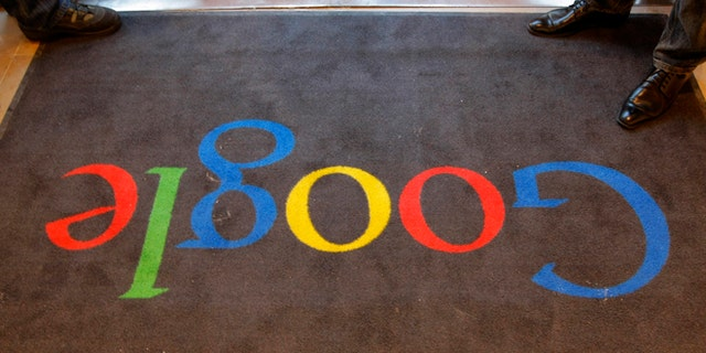 A carpet at the entrance of Google France's new offices seen in 2011 before its inauguration by French President Nicolas Sarkozy, in Paris.