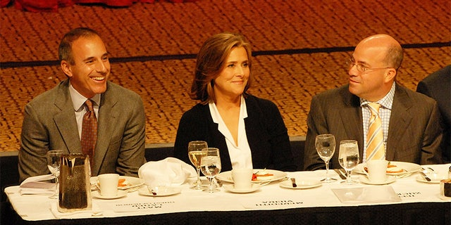 Matt Lauer, Meredith Vieira and Jeff Zucker at the roast of Matt Lauer at the New York Hilton in 2008. [Photo by Bobby Bank / WireImage]