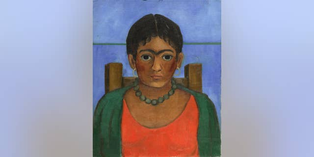 This undated image provided by Sotheby's shows a rediscovered painting by Frida Kahlo that is going to auction on Nov. 22, 2016, in New York.
