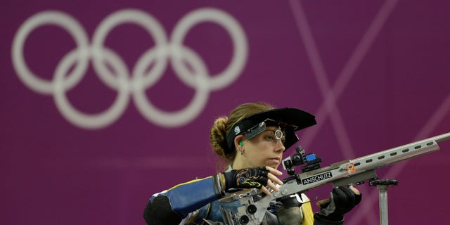 Aug. 4, 2012: United States of America's Jamie Lynn Gray prepares to shoot, at the start of the women's 50-meter rifle 3 positions final, at the 2012 Summer Olympics, in London.