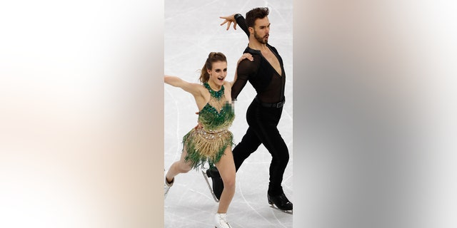 Gabriella Papadakis's left breast became exposed after a clasp came undone.