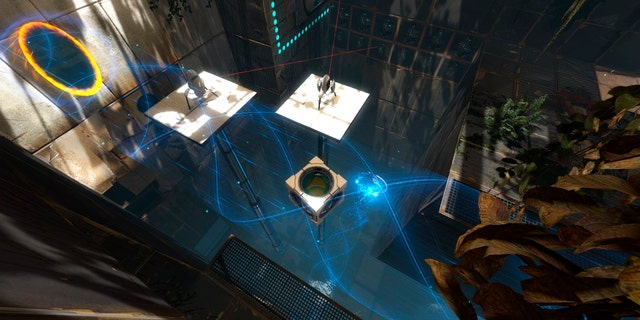 "A scene is shown from the teleporting puzzle game ""Portal 2."" Games that bend the rules of space and time were among the topics discussed at the Game Developers Conference Next at the Los Angeles Convention Center on Nov. 5-7, 2013."