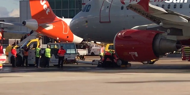 """The Rossiya Airlines aircraft injured the worker's leg in the March 28 incident, but Aeroflot, who owns Rossiya, claimed it was due to a """"serious infringement of safety regulations"""" on the worker's part."""