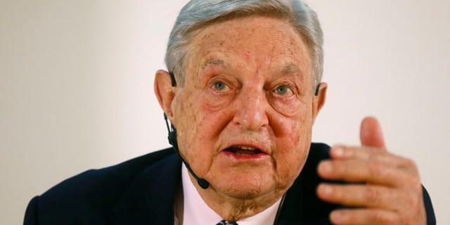 George Soros, Chairman of Soros Fund Management LLC during an economic speech in Frankfurt April 9, 2013.