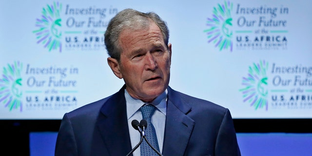 In this Aug. 6, 2014 photo, former U.S. President George W. Bush speaks at the 'Investing in Our Future' forum at the US-Africa Leaders Summit in Washington.