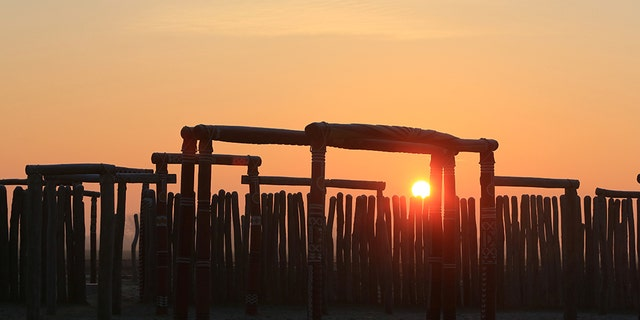 The Pömmelte henge in Germany was active for some 300 years, starting from 2,300 B.C. A reconstruction is seen here in 2016.