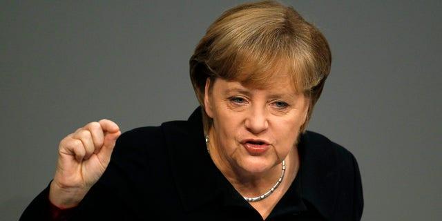 Dec. 2, 2011: German Chancellor Angela Merkel gestures during her speech at the German Federal Parliament, Bundestag, in Berlin, Germany.