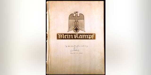 """File Photo of Adolf Hitler's """"Mein Kampf"""" with the inscription, """"To the Huntington Library from G.S. Patton April 14, 1945."""""""