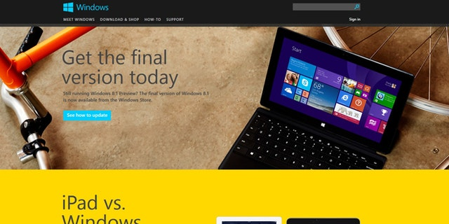 Oct. 17, 2013: A screenshot of the windows.microsoft.com website, where Microsoft began offering a free update to Windows 8.1 as of Thursday morning.