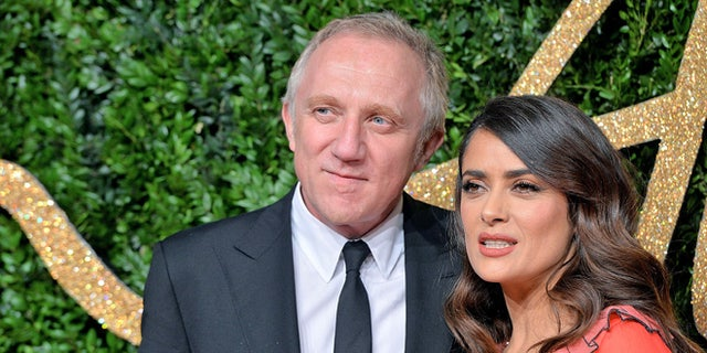 LONDON, ENGLAND - NOVEMBER 23:  Francois Henri Pinault and Salma Hayek attend the British Fashion Awards 2015 at London Coliseum on November 23, 2015 in London, England.  (Photo by Anthony Harvey/Getty Images)