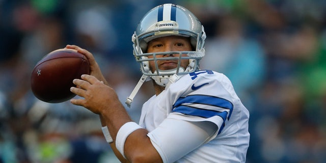 SEATTLE, WA - AUGUST 25:  Quarterback Tony Romo #9 of the Dallas Cowboys warms up prior to the preseason game against the Seattle Seahawks at CenturyLink Field on August 25, 2016 in Seattle, Washington.  (Photo by Otto Greule Jr/Getty Images)