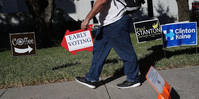 Early voting sign at the Pinellas County Election Services office on October 24, 2016 in St. Petersburg, Florida.