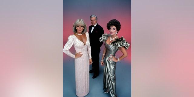 Linda Evans (Krystle), John Forsythe (Blake) and Joan Collins (Alexis).