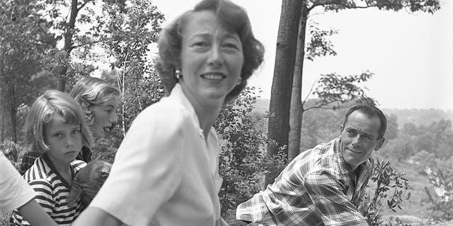 The Fonda Family (L-R: Jane Fonda, Frances de Villers Brokaw, Frances Fonda and Henry Fonda) enjoy a picnic in 1949.