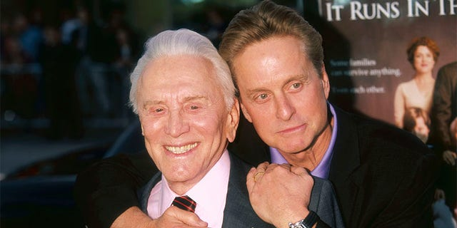 Kirk Douglas with his son, fellow actor Michael Douglas.