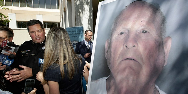 Sacramento County Sheriff Scott Jones, left, talks to reporters on Wednesday about the arrest of Joseph James DeAngelo, seen in photo, on suspicion of committing a string of violent crimes in the 1970s and 1980s after a news conference.