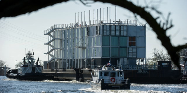 March 6, 2014: The Google barge is seen in a channel near the Port of Stockton in Calif.