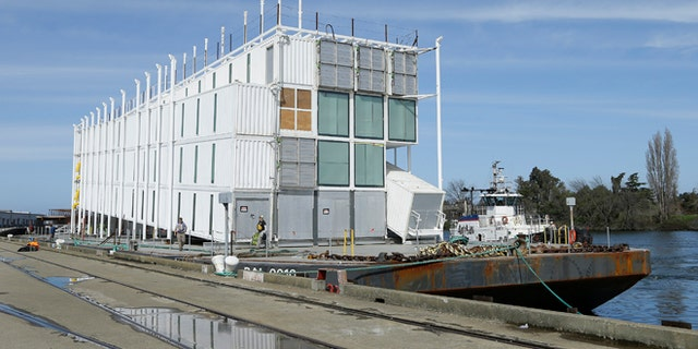 March 6, 2014: The Google barge is seen moored at the Port of Stockton in California.