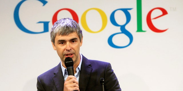 Google CEO Larry Page speaks at a 2012 news conference at the Google offices in New York.
