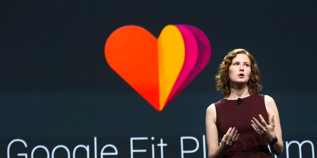 Ellie Powers, Product Manager for Google Play, announces the new Google Fit development platform during the Google I/O developers conference June 25, 2014.