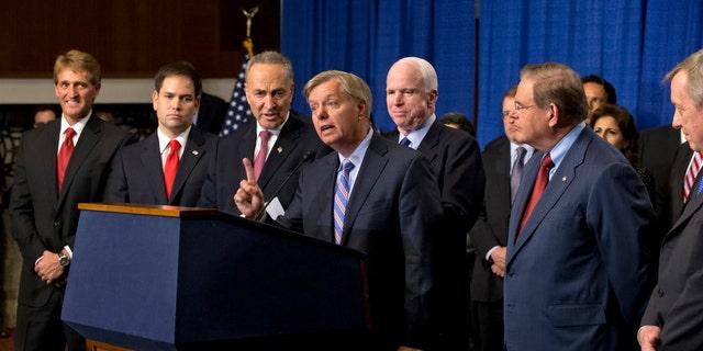 So-called Gang of Eight: Sen. Jeff Flake, Sen. Marco Rubio, Sen. Charles Schumer, Sen. Lindsey Graham, Sen. John McCain, Sen. Robert Menendez and Sen. Richard Durbin.
